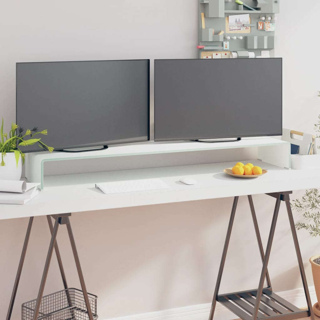 vidaXL Fehér üveg TV/monitor állvány 120x30x13 cm