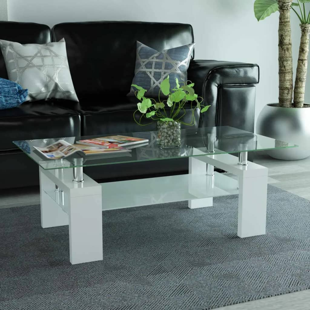 Coffee Table White Gloss Black Glass Top Coffee Table: VidaXL Coffee Table High Gloss Glass Top Shelf Couch Side