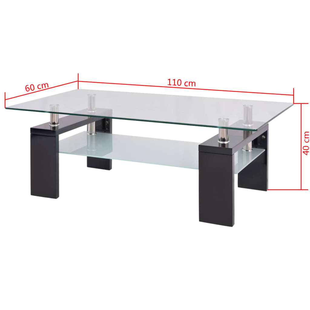Vidaxl high gloss coffee table with lower shelf 110x60x40 cm black Coffee table with shelf