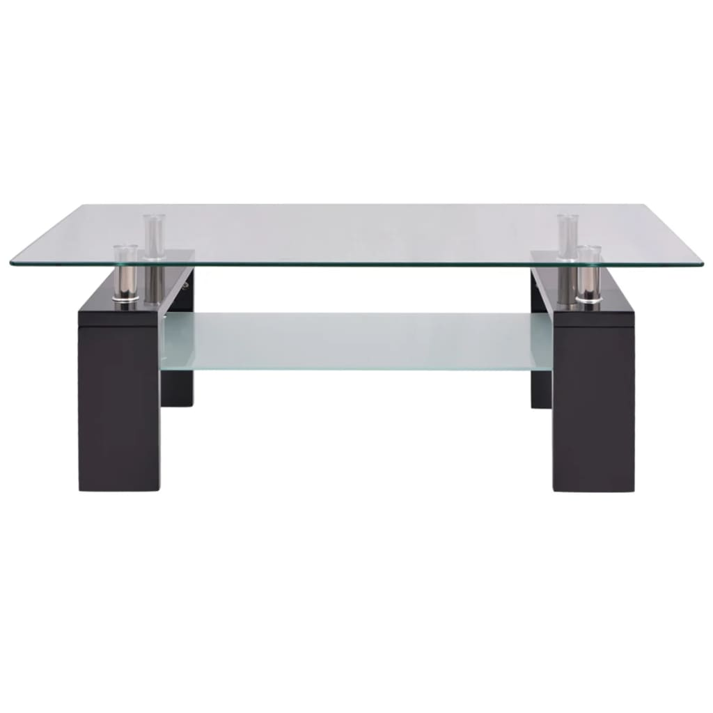 Vidaxl High Gloss Coffee Table White: VidaXL High-Gloss Coffee Table With Lower Shelf 110x60x40