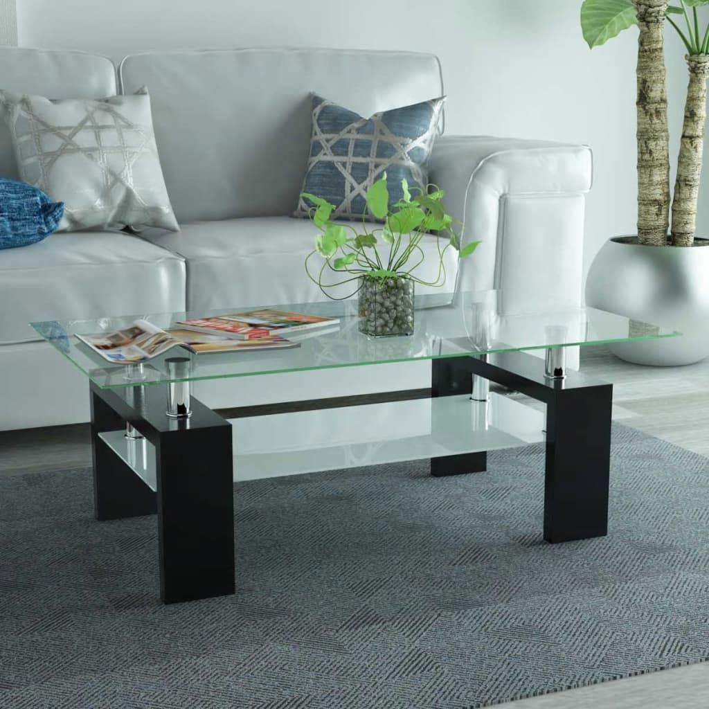 VidaXL Coffee Table High Gloss Glass Top Shelf Couch Side