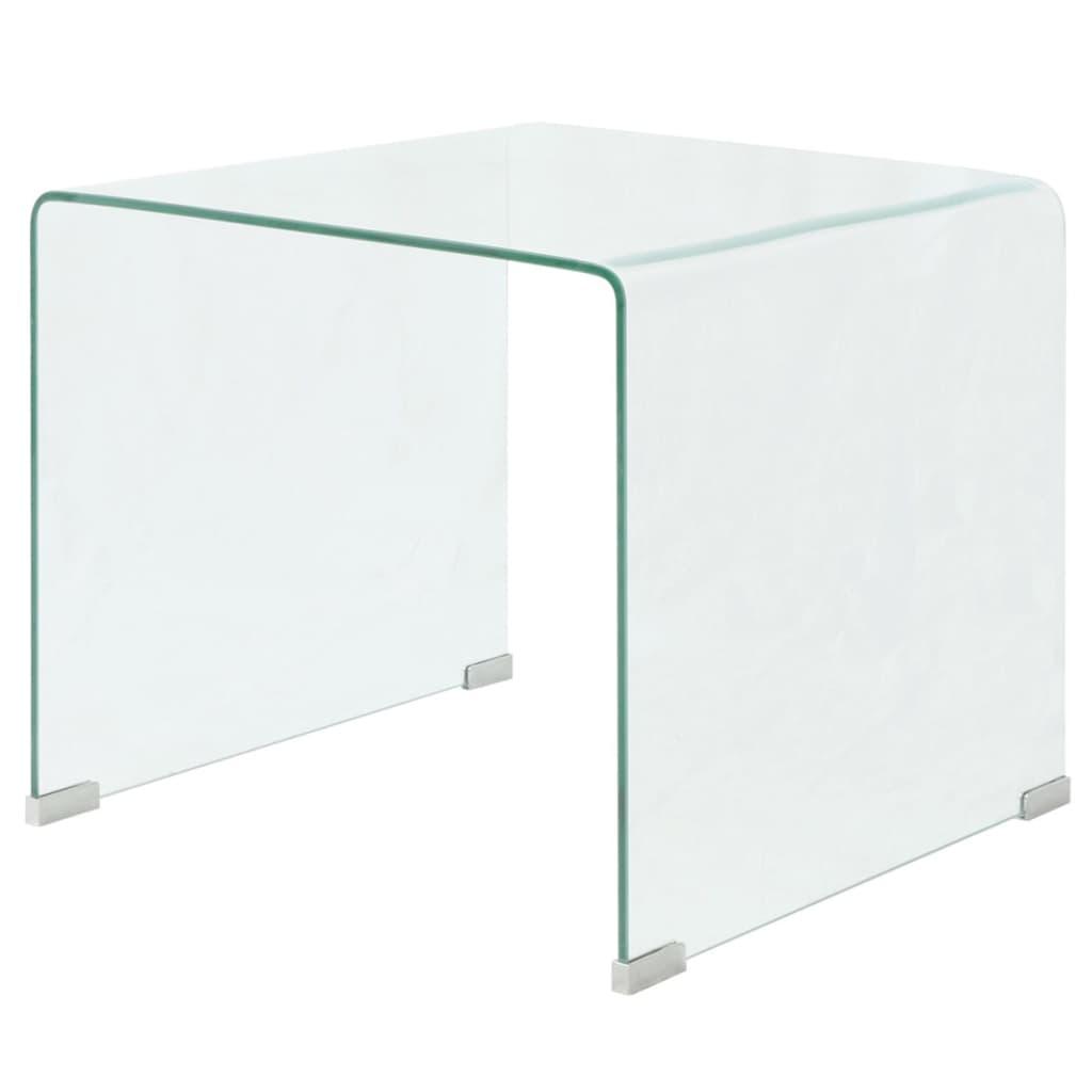 vidaXL Edzett üveg dohányzóasztal 49,5x50x45cm átlátszó