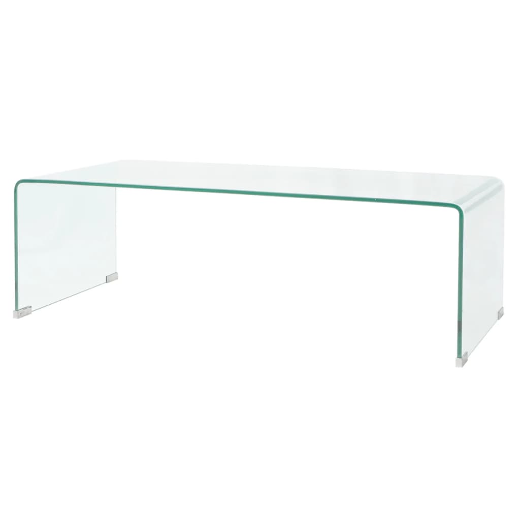 vidaXL Átlátszó edzett üveg dohányzóasztal 100x48x33 cm