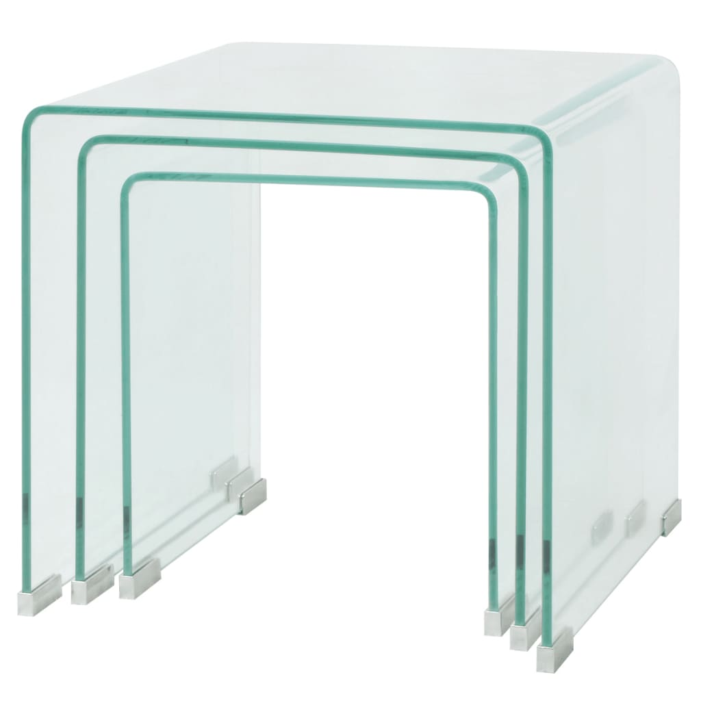 Vidaxl set de tres mesas de centro apilables vidrio - Mesas de vidrio templado ...