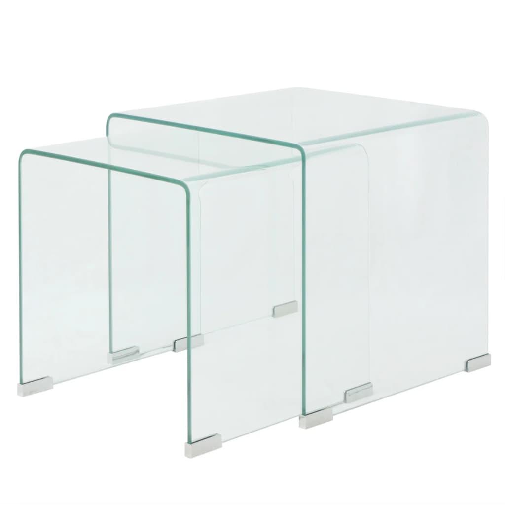 vidaXL Két részes egymásba rakható asztal szett edzett üvegből