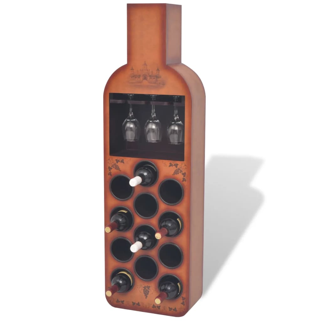 vidaXL-Wine-Rack-Storage-Holder-Floor-Standing-Bottle-Shape-12-Bottles-Brown