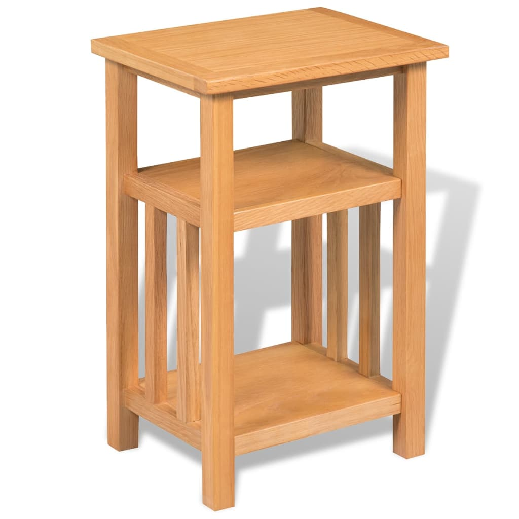 vidaxl end table with magazine shelf solid oak 27x35x55 cm. Black Bedroom Furniture Sets. Home Design Ideas