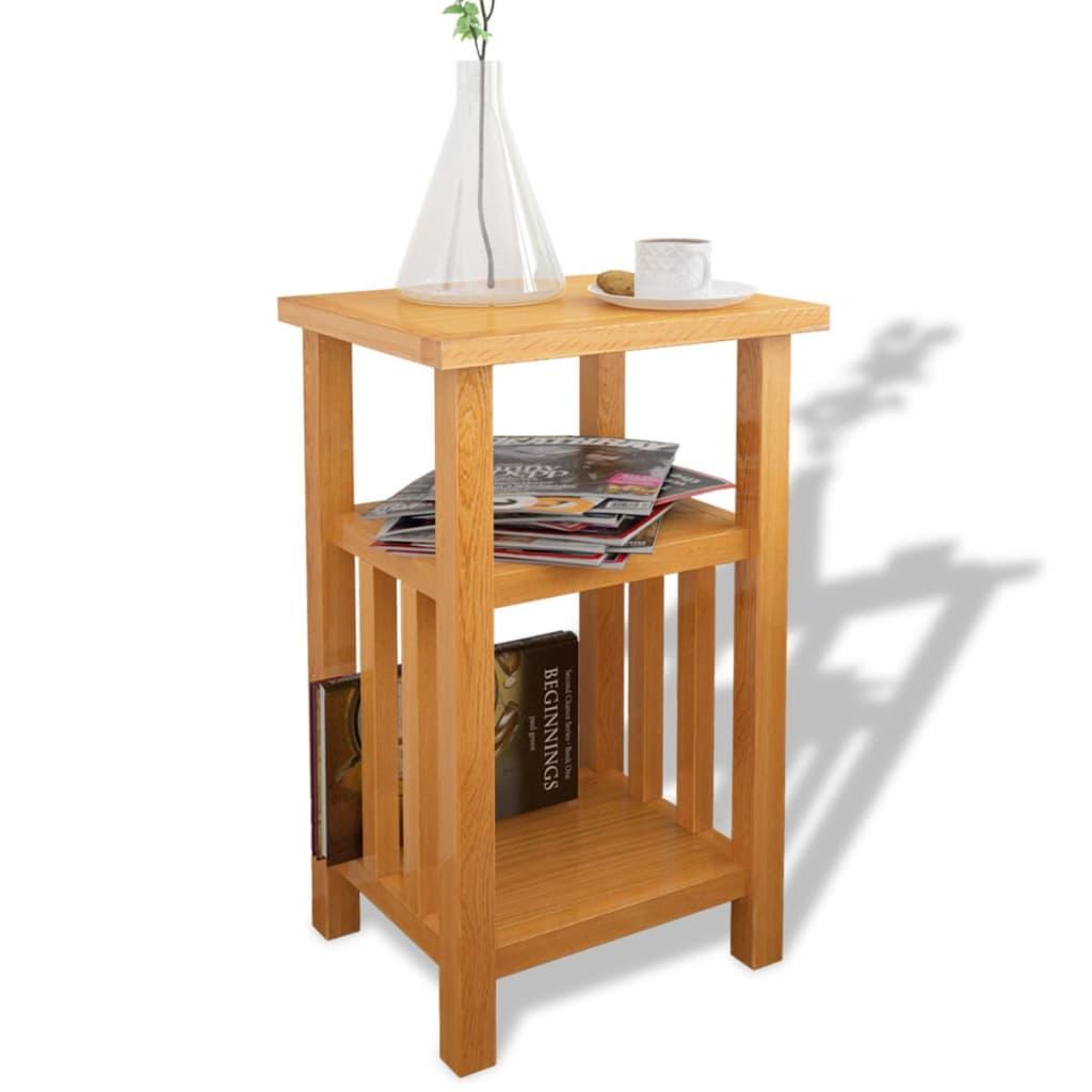vidaXL tömör tölgyfa asztalka újságtároló polccal 27 x 35 55 cm