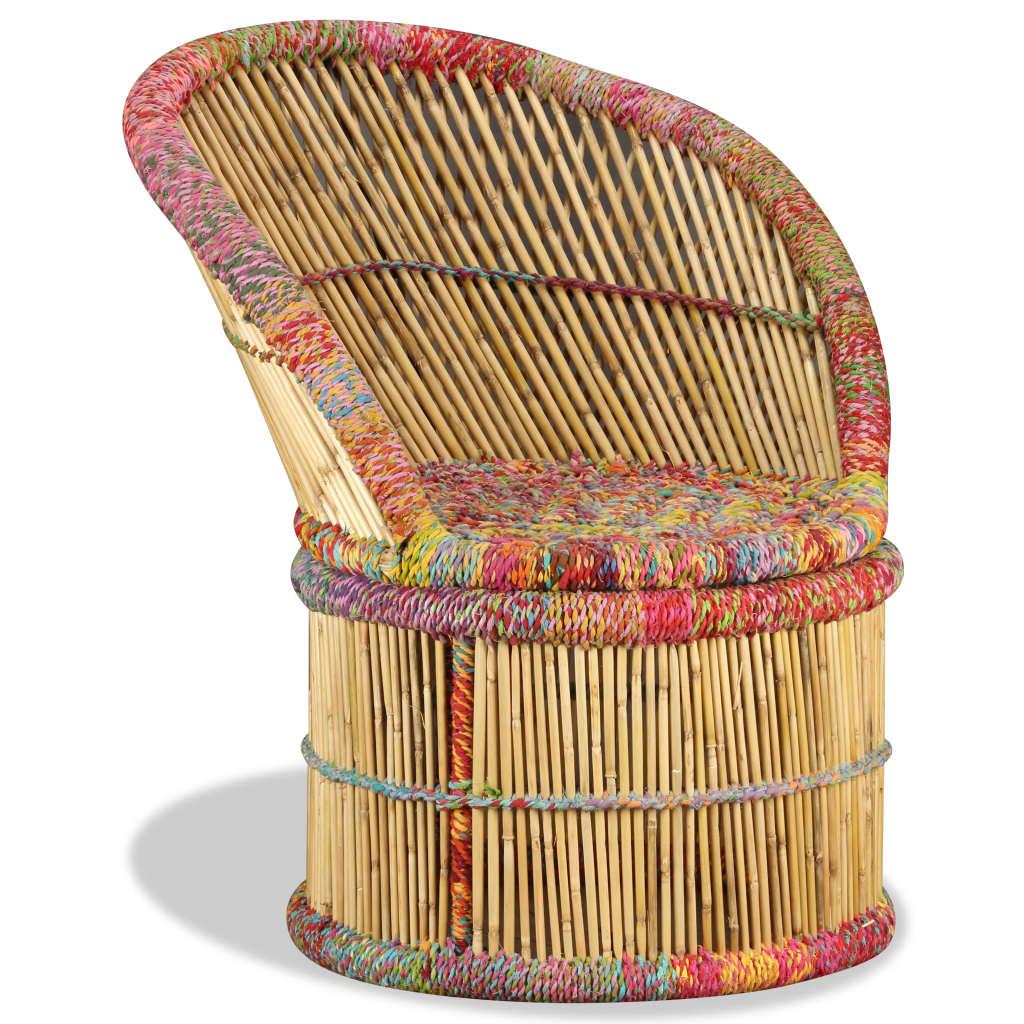 vidaXL bambuszszék tarka Chindi mintával
