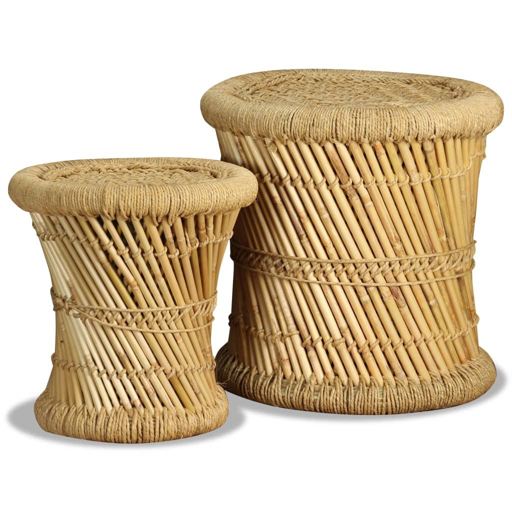 Afbeelding van vidaXL Krukkenset bamboe jute 2-delig