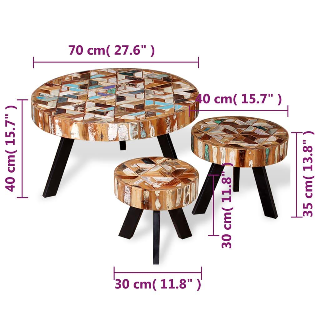 Solid Reclaimed Wood Coffee Table: VidaXL Three Piece Coffee Table Set Solid Reclaimed Wood