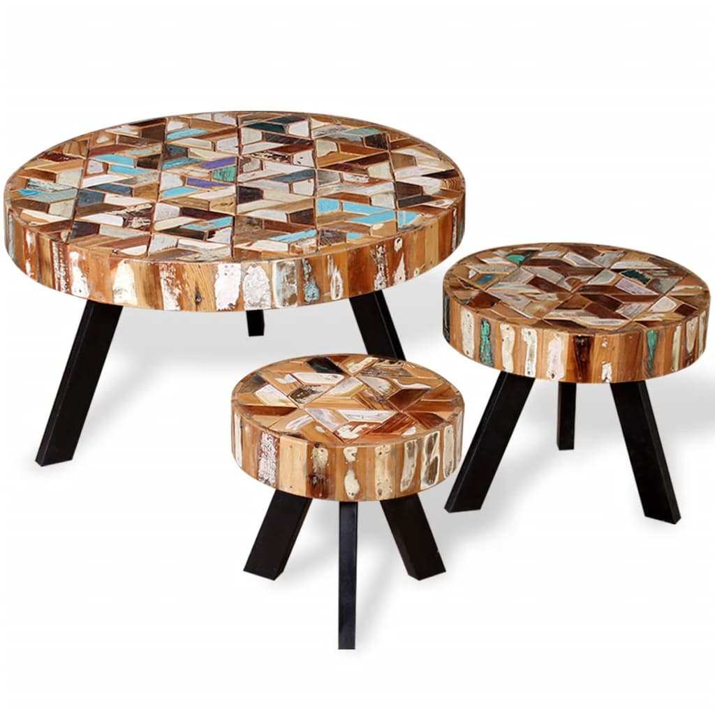 Vidaxl Coffee Table Teak Resin: VidaXL Three Piece Coffee Table Set Solid Reclaimed Wood