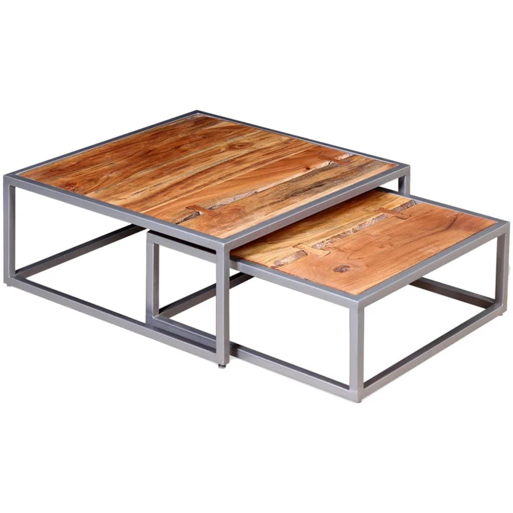 vidaXL Zestaw dwóch stolików kawowych z drewna akacjowego