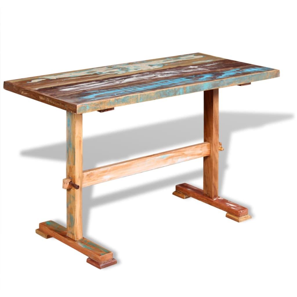 vidaXL tömör újrahasznosított fa étkezőasztal talapzattal 120 x 58 78 cm