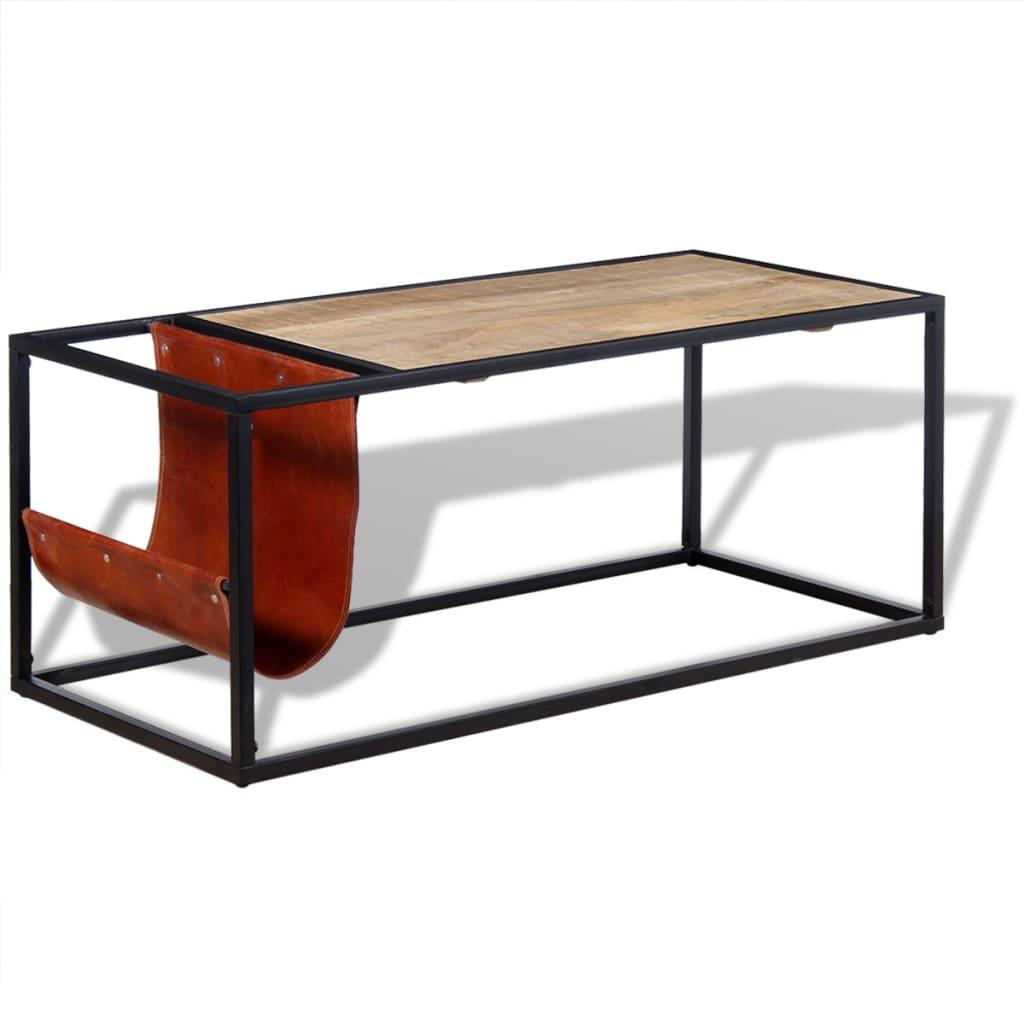 vidaXL dohányzóasztal valódi bőrből készült újságtartóval 110x50x45 cm