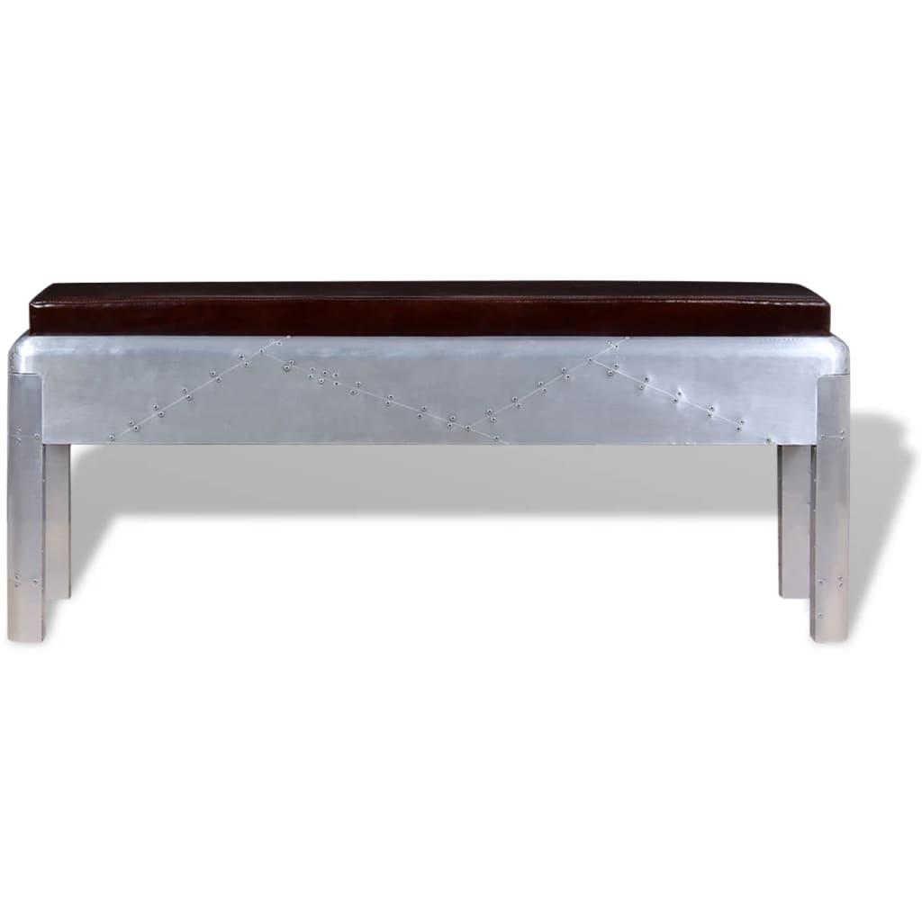 vidaxl sitzbank im retro industrie design echtleder 110 x 32 x 45 cm im vidaxl trendshop. Black Bedroom Furniture Sets. Home Design Ideas
