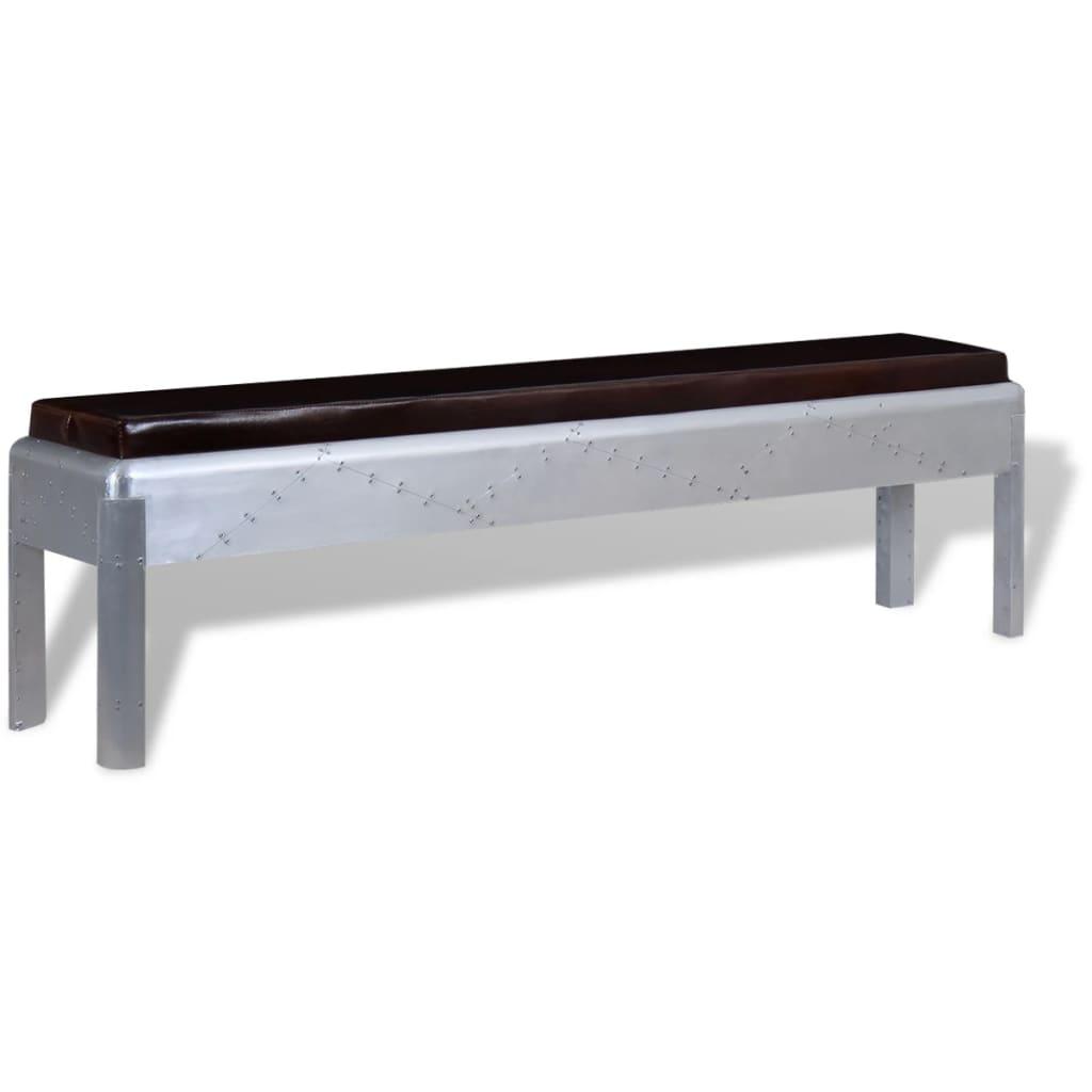 vidaXL repülős pad valódi bőrből 160 x 32 45 cm