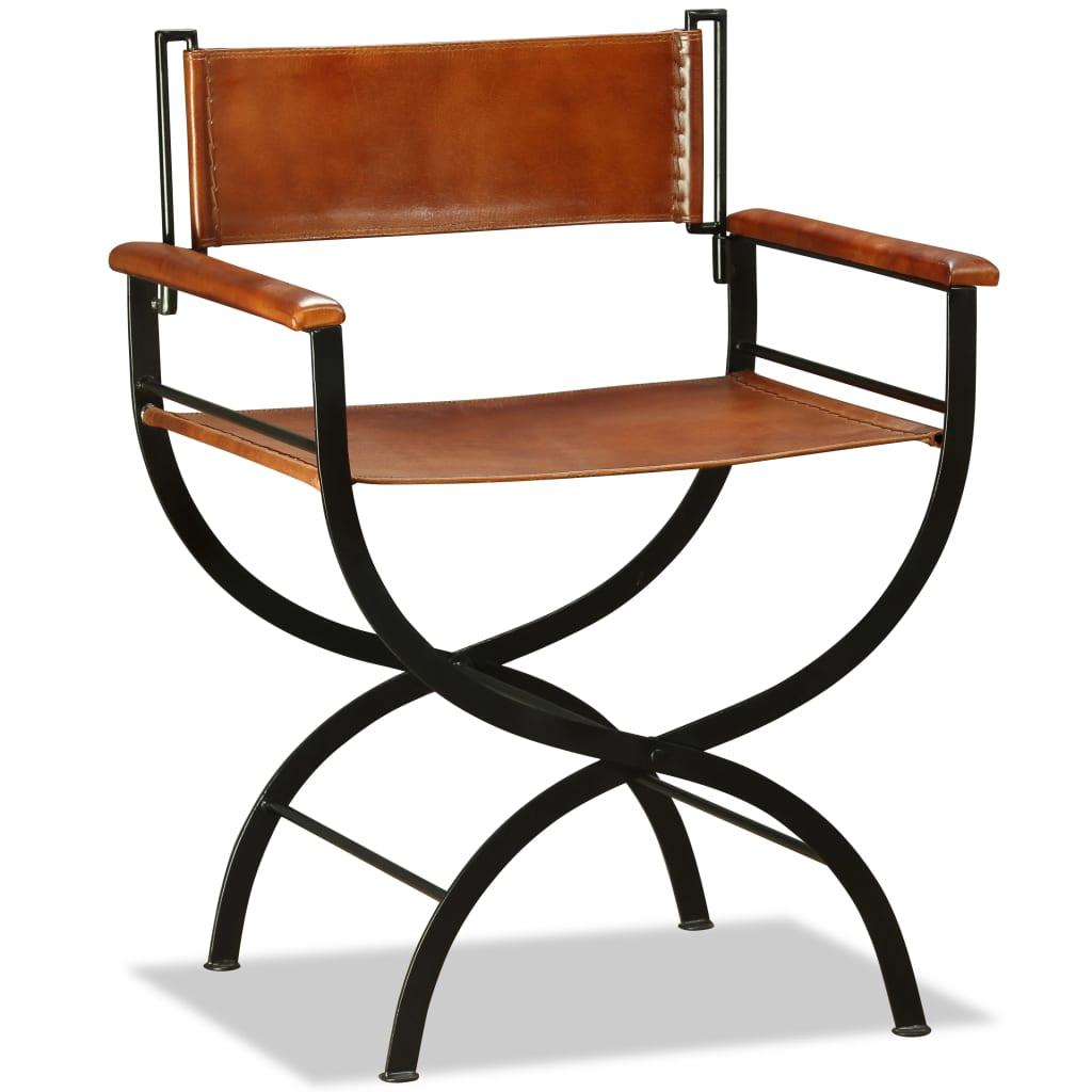 vidaXL Krzesło składane, skóra naturalna, czarno-brązowe, 59x48x77 cm