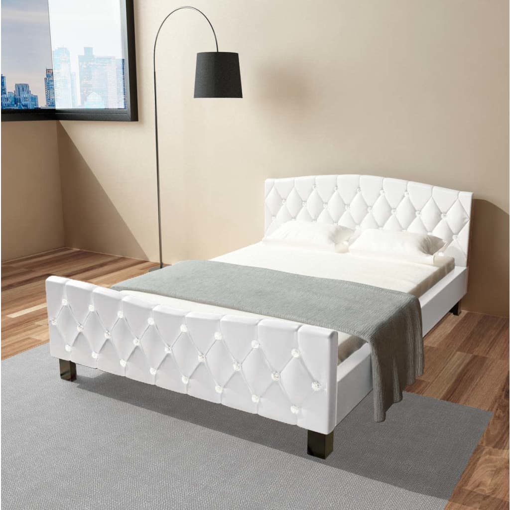 acheter vidaxl cadre de lit cuir artificiel 140 x 200 cm blanc pas cher. Black Bedroom Furniture Sets. Home Design Ideas