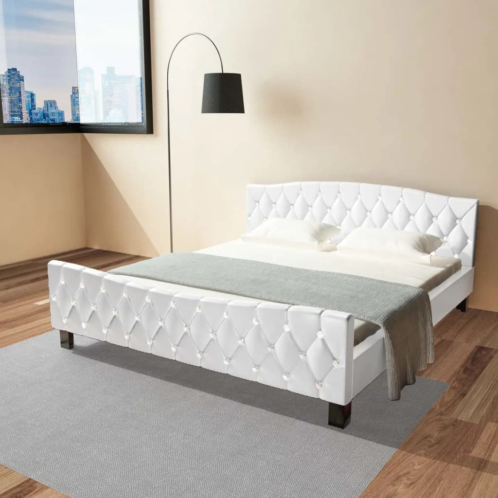 vidaxl doppelbett polsterbett ehebett bettgestell kunstleder 180 x 200 cm wei eur 228 99. Black Bedroom Furniture Sets. Home Design Ideas