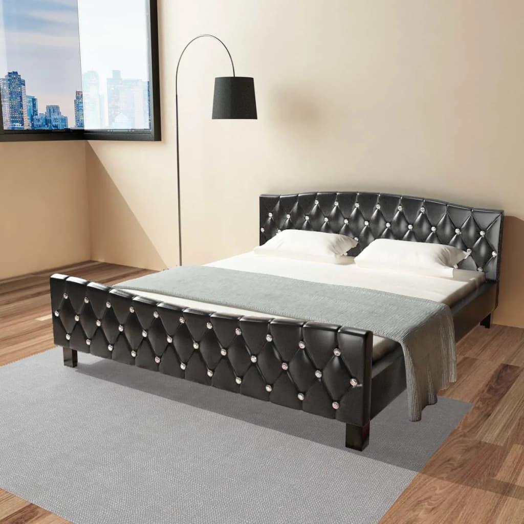 vidaXL fekete műbőr ágykeret 180 x 200 cm