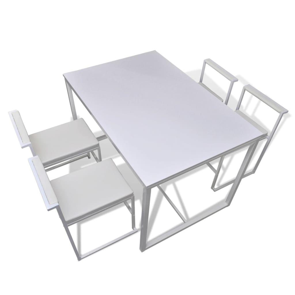 Vidaxl set di 5 pezzi tavolo e sedie da pranzo bianco - Sedie tavolo da pranzo ...