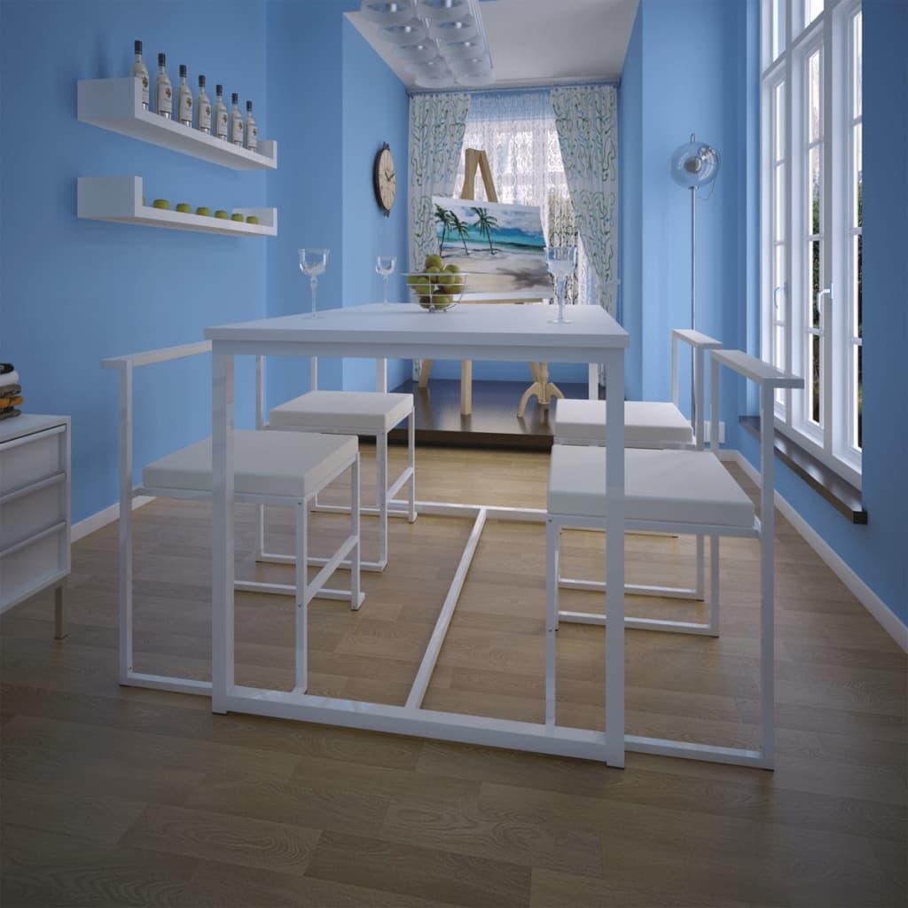 vidaXL 5-részes fehér étkezőasztal és székgarnitúra