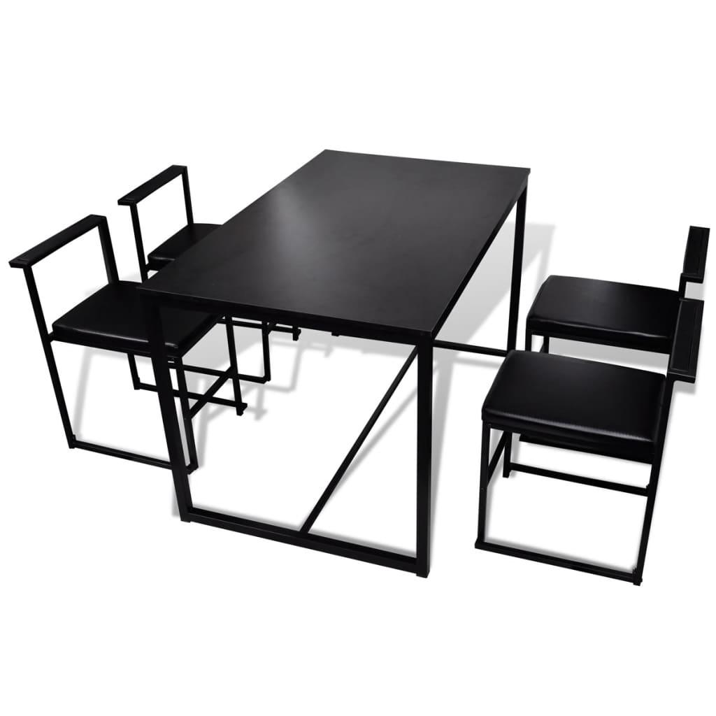 Vidaxl conjunto de mesa de comedor y sillas 5 piezas negro for Conjunto mesa y sillas comedor