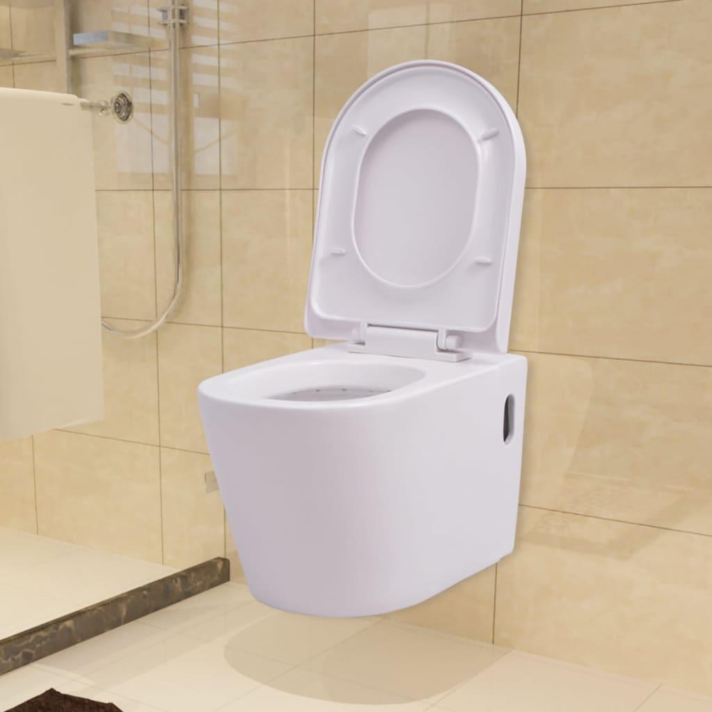 vidaXL-Wall-Hung-Toilet-Ceramic-White-Suspended-Soft-close-Bathroom-Furniture