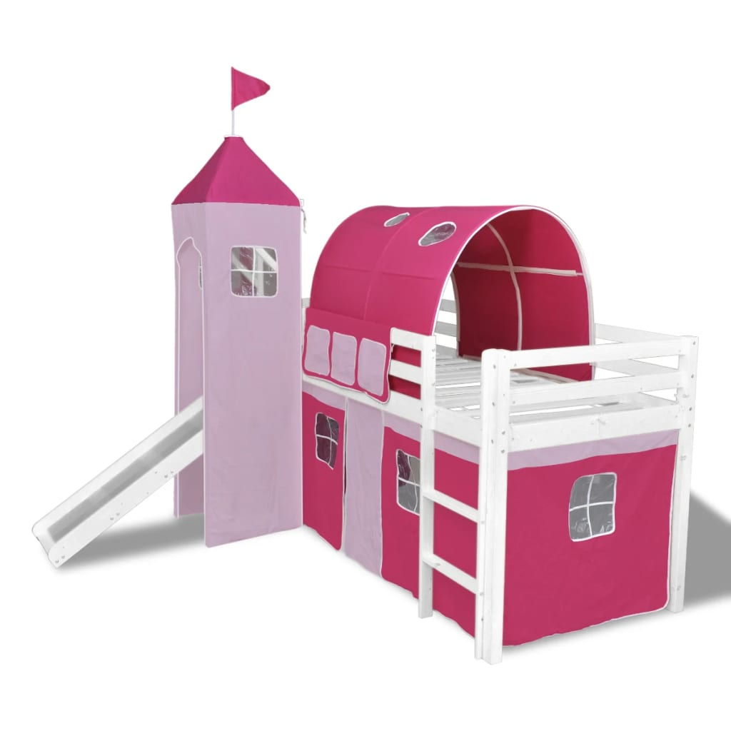 vidaxl kinderhochbett mit rutsche leiter holz rosa g nstig kaufen. Black Bedroom Furniture Sets. Home Design Ideas