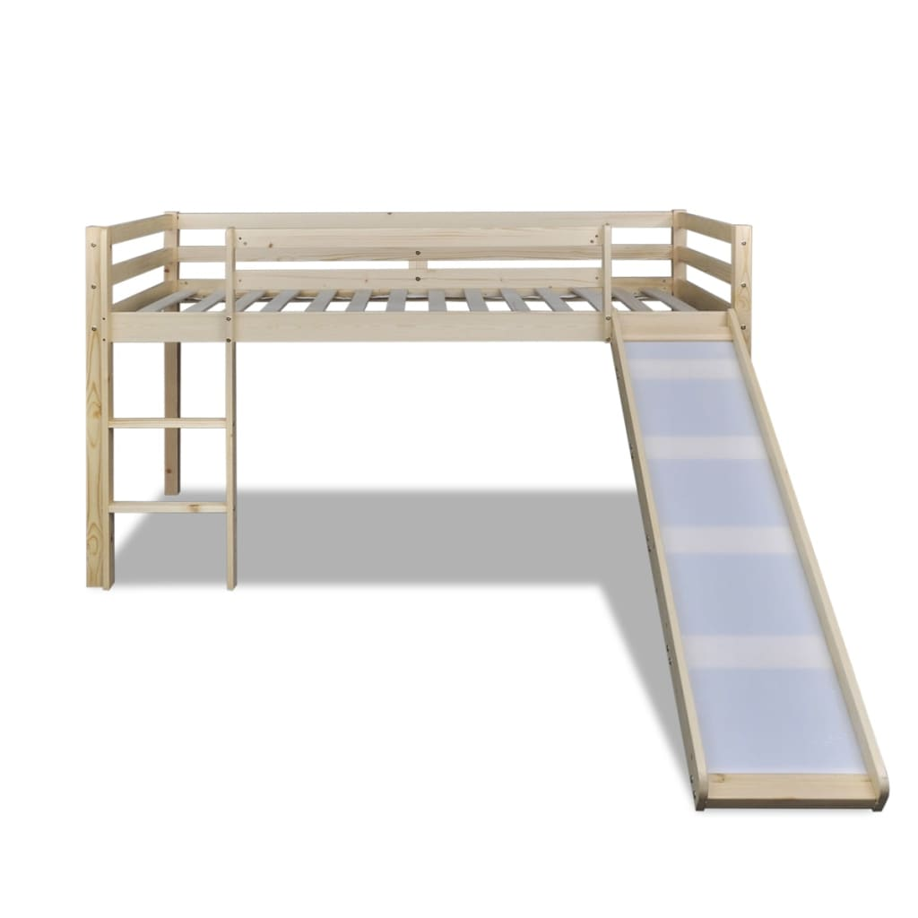 acheter vidaxl lit mezzanine pour enfants avec toboggan et chelle bois naturel pas cher. Black Bedroom Furniture Sets. Home Design Ideas