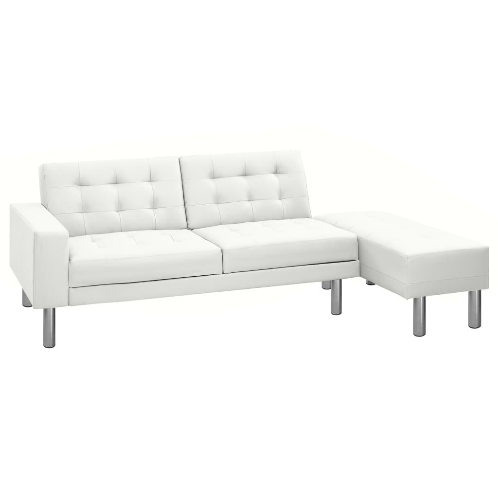 vidaXL Rozkładana sofa ze sztucznej skóry, kolor biały