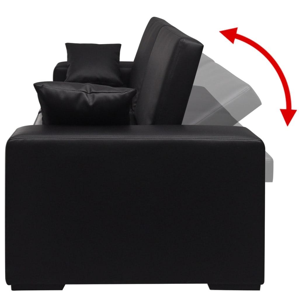Acheter vidaxl canap lit cuir artificiel noir pas cher for Canape lit cuir