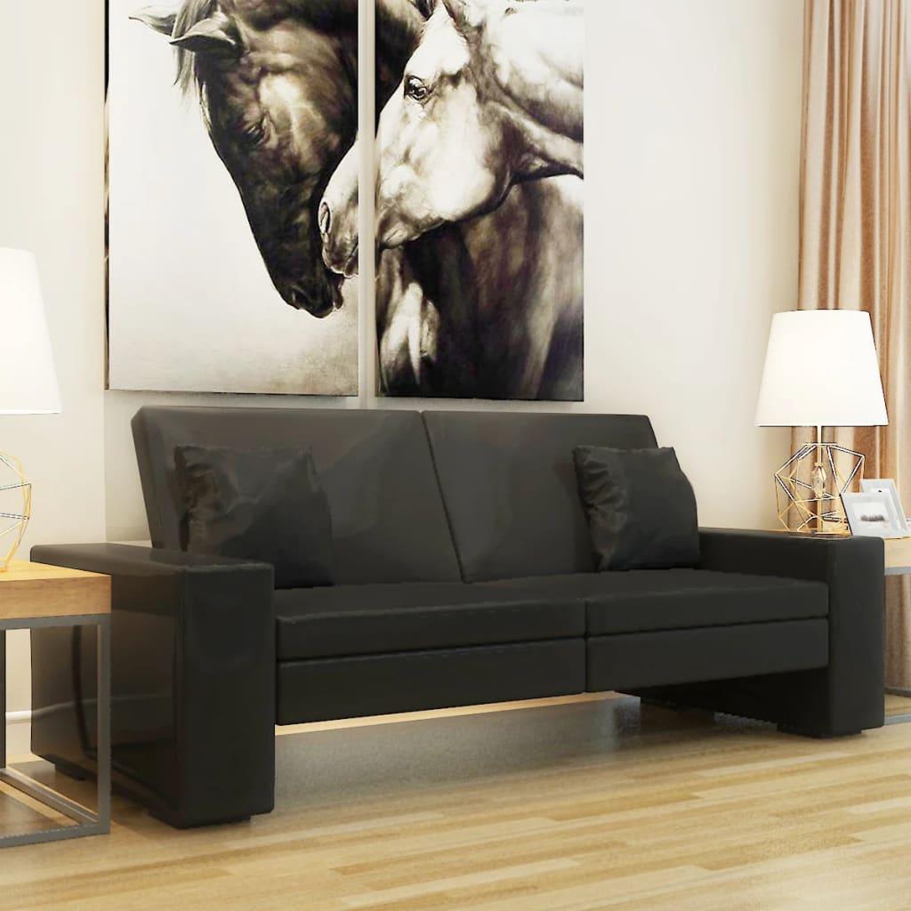 vidaxl schlafsofa sofabett schlafcouch ausziehcouch ecksofa schwarzes kunstleder ebay. Black Bedroom Furniture Sets. Home Design Ideas