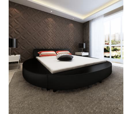 vidaxl bettgestell 180 x 200 cm rund kunstleder schwarz g nstig kaufen. Black Bedroom Furniture Sets. Home Design Ideas