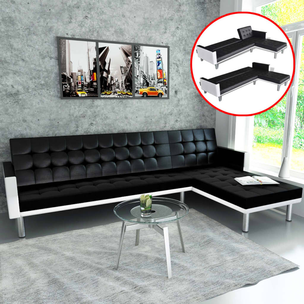 vidaxl ecksofa mit schlaffunktion kunstleder schwarz. Black Bedroom Furniture Sets. Home Design Ideas