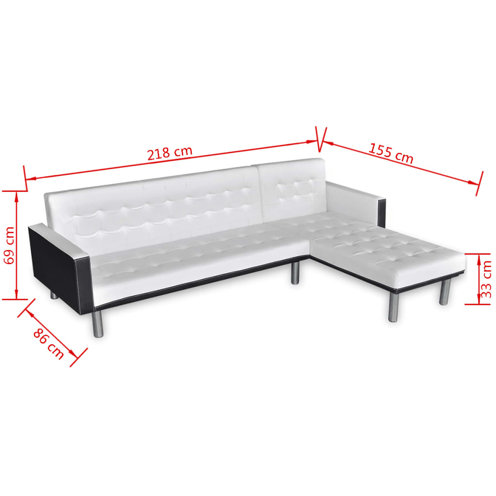 acheter vidaxl canap lit d 39 angle cuir synth tique blanc pas cher. Black Bedroom Furniture Sets. Home Design Ideas