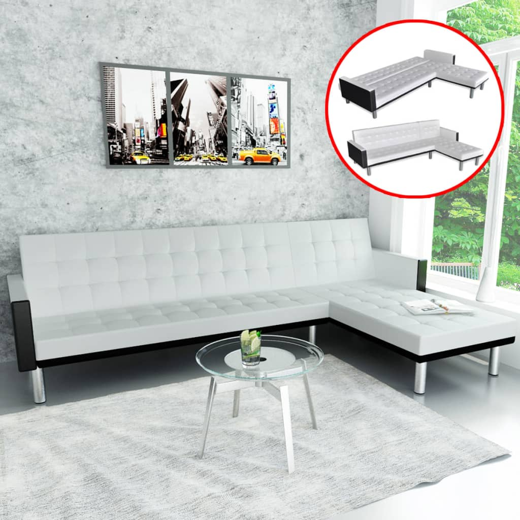 Details about vidaXL L-shape Sofa Bed Black and White Artificial Leather  Lounge Seating