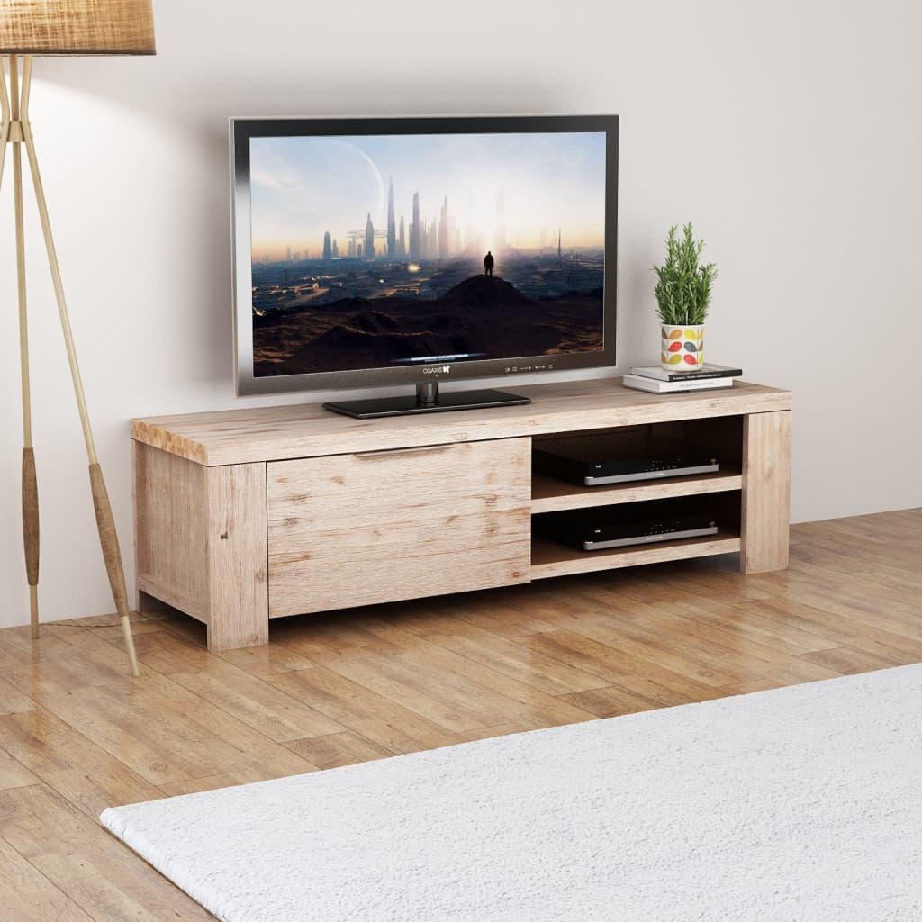 Acheter vidaxl meuble tv bois d 39 acacia massif bross 140 x for Acheter du bois pour meuble