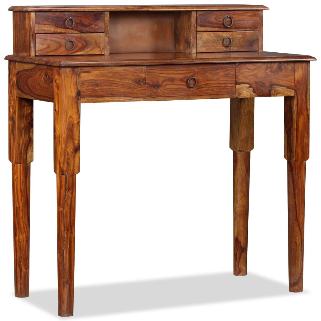 vidaXL tömör kelet-indiai rózsafa íróasztal 5 fiókkal 90 x 40 cm
