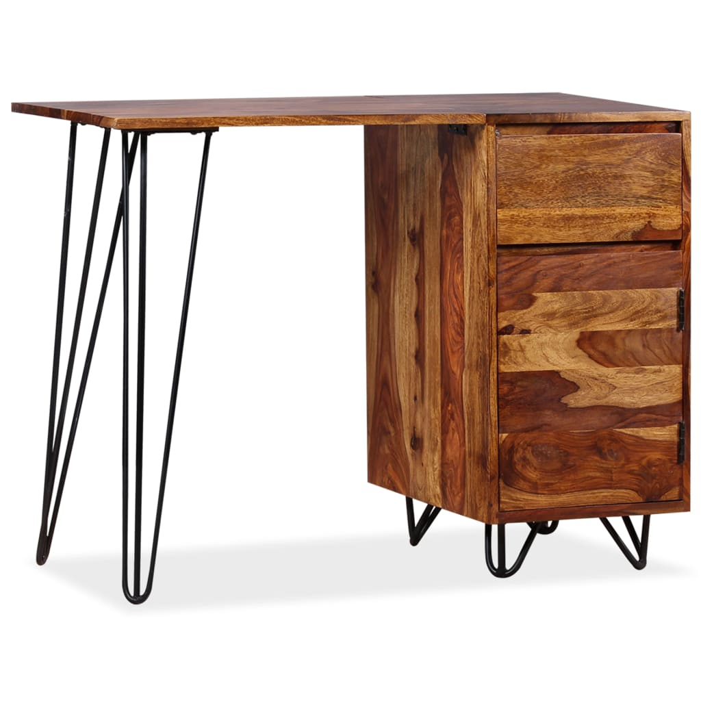 vidaXL tömör kelet-indiai rózsafa íróasztal 1 fiókkal és szekrénnyel