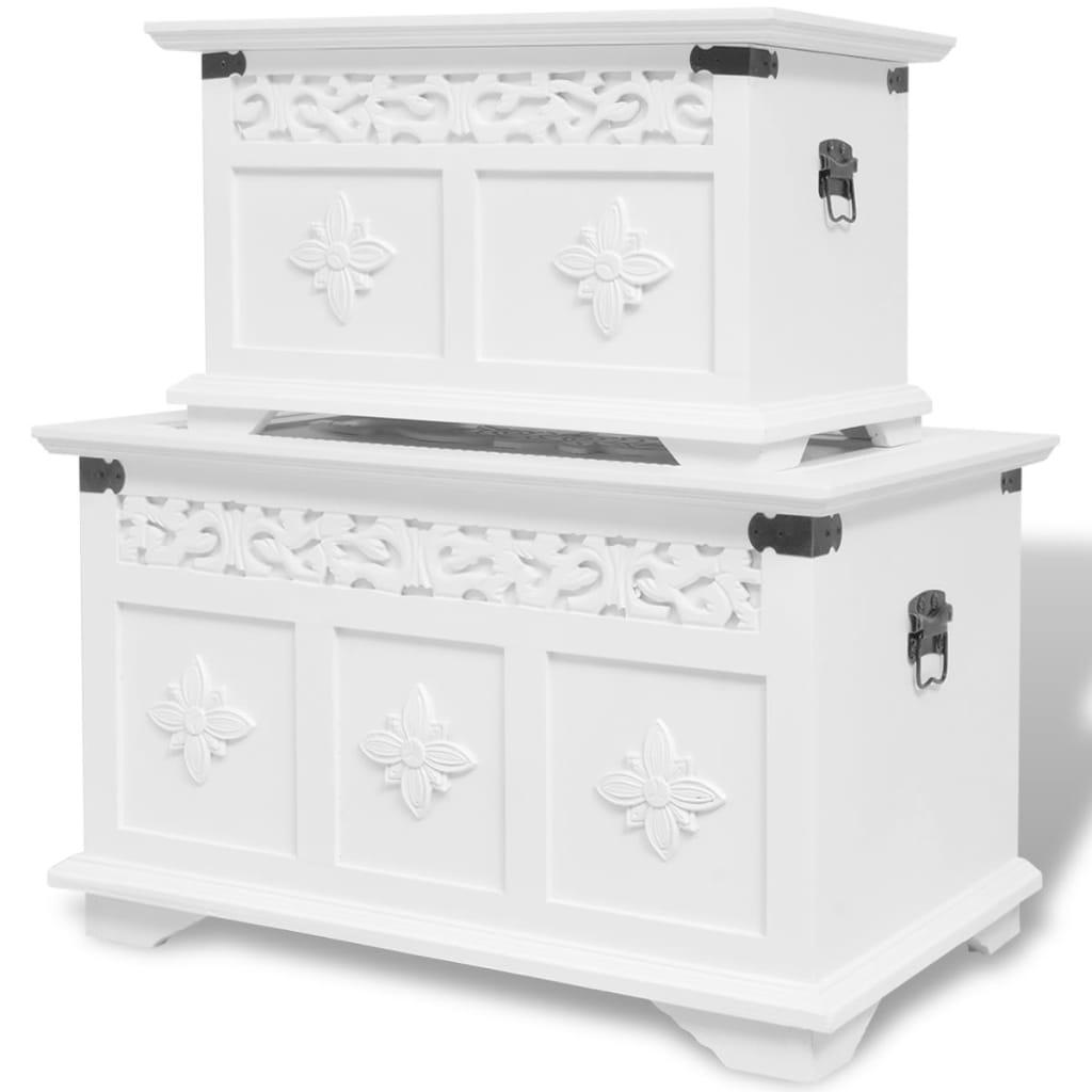 vidaXL két darabos fehér tárolóláda készlet