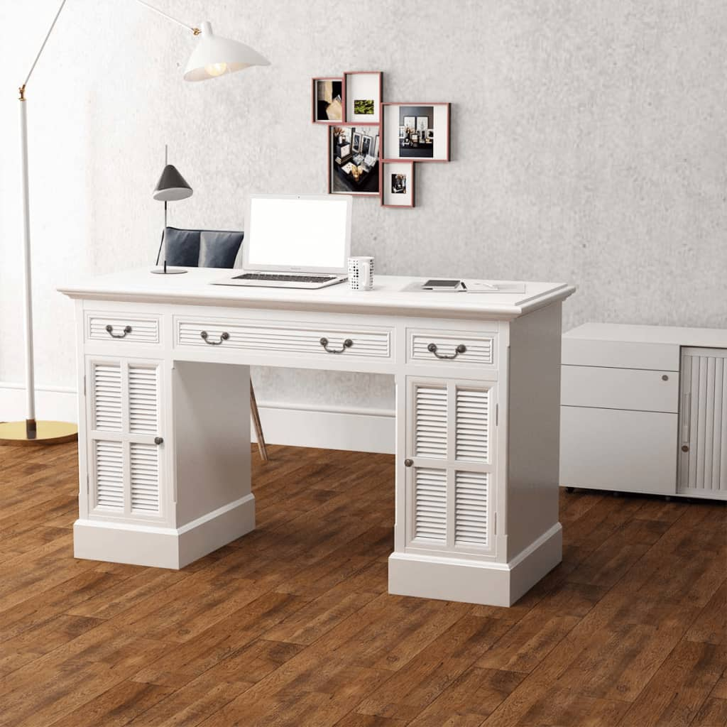 White Office Double Pedestal Computer Desk 3 Drawers Study Table Antique  Style - White Office Double Pedestal Computer Desk 3 Drawers Study Table