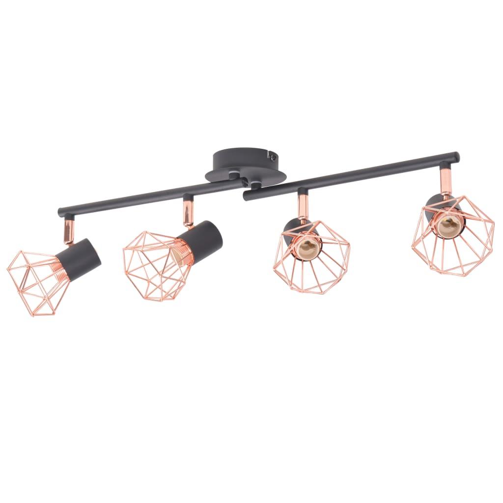 vidaXL fekete és sárgaréz mennyezeti lámpa 4 spotlámpával E14