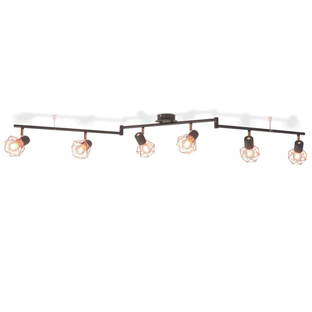 vidaXL fekete és sárgaréz mennyezeti lámpa 6 spotlámpával E14