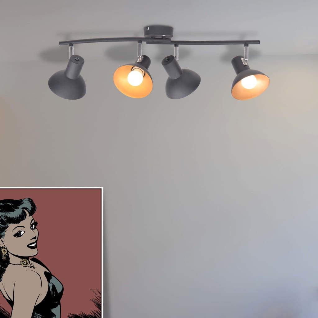 vidaXL 4 db fekete és arany mennyezeti lámpa E27-es izzóhoz