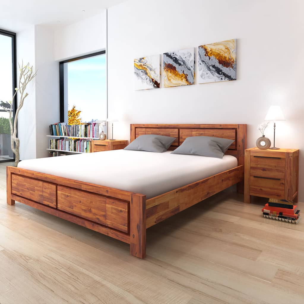 vidaxl bed frame solid acacia wood king size wooden brown bedroom furniture 8718475532699 ebay