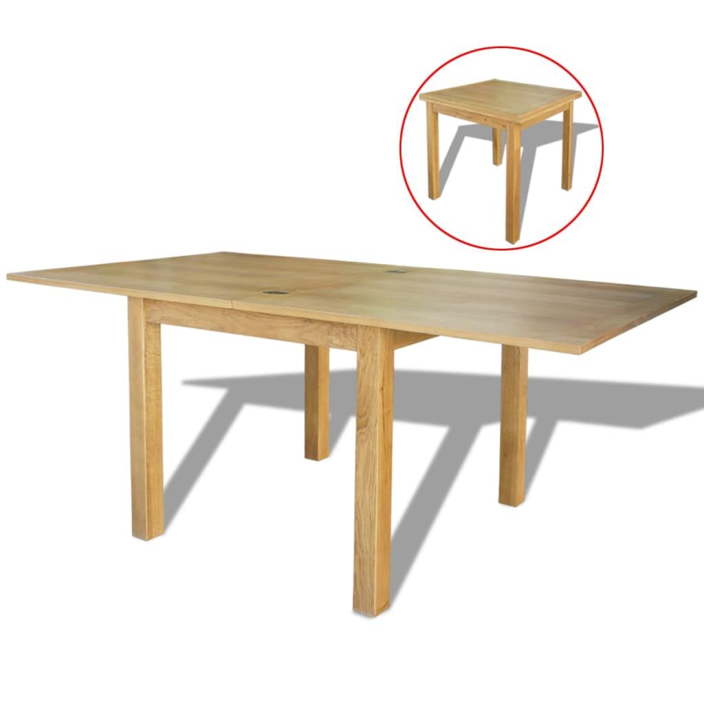 vidaXL Rozkładany stół z drewna dębowego, 170x85x75 cm