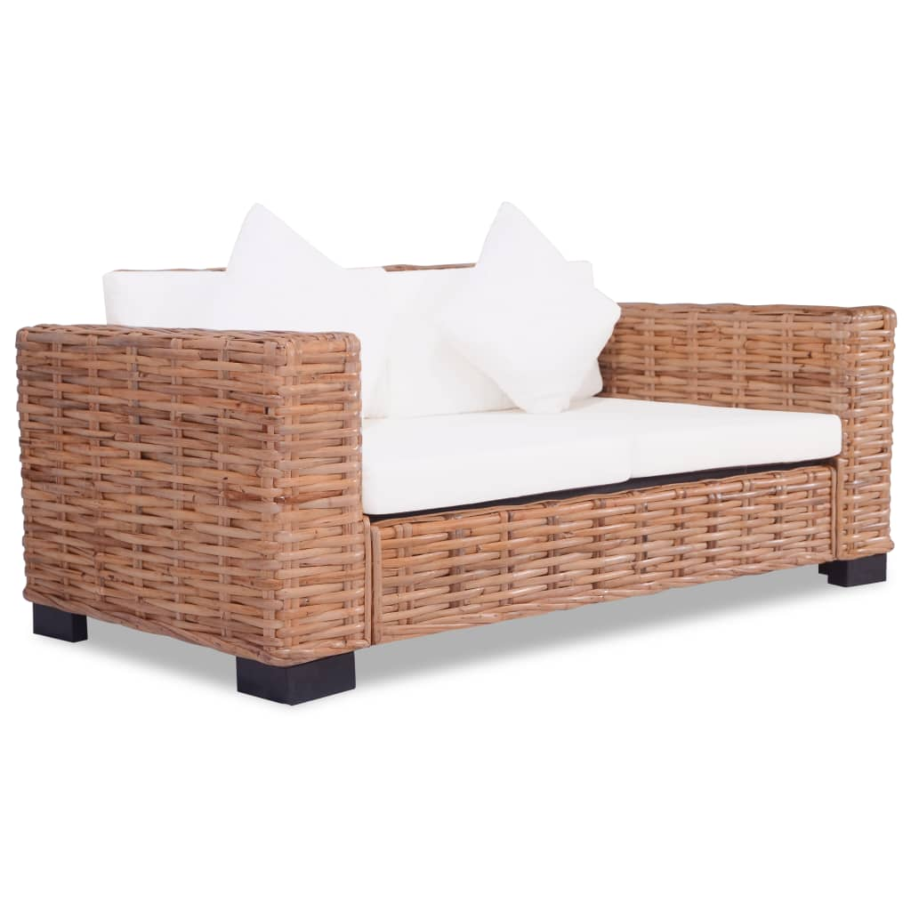 vidaXL 2-personers sofa naturlig rattan