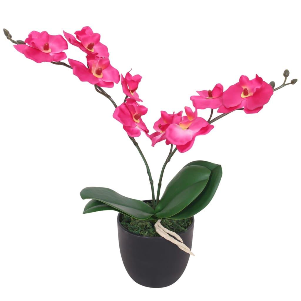 vidaXL műorchidea virágcseréppel 30 cm piros